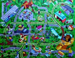 "Silli Me Large ""My Town"" Play Mat with Airport, Town, Train Tracks and Roads"