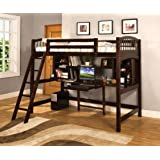Furniture of America IDF-BK263 with Workstation Loft Bed Twin Espresso (Color: Espresso, Tamaño: Twin)