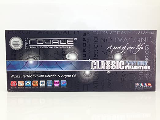 Royale Professional Ceramic Classic Straightening Iron - Baby Blue - Dual Voltage
