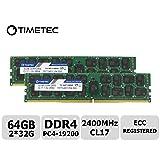 Timetec 64GB KIT(2x32GB) DDR4 2400MHz PC4-19200 Registered ECC 1.2V CL17 2Rx4 Dual Rank 288 Pin RDIMM Server Memory Ram Module Upgrade (64GB KIT(2x32GB)) (Tamaño: 64GB KIT(2x32GB))