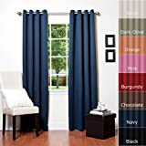 Solid Grommet Top Thermal Insulated Blackout Curtain 84 Length 1 Pair-NAVY - GT