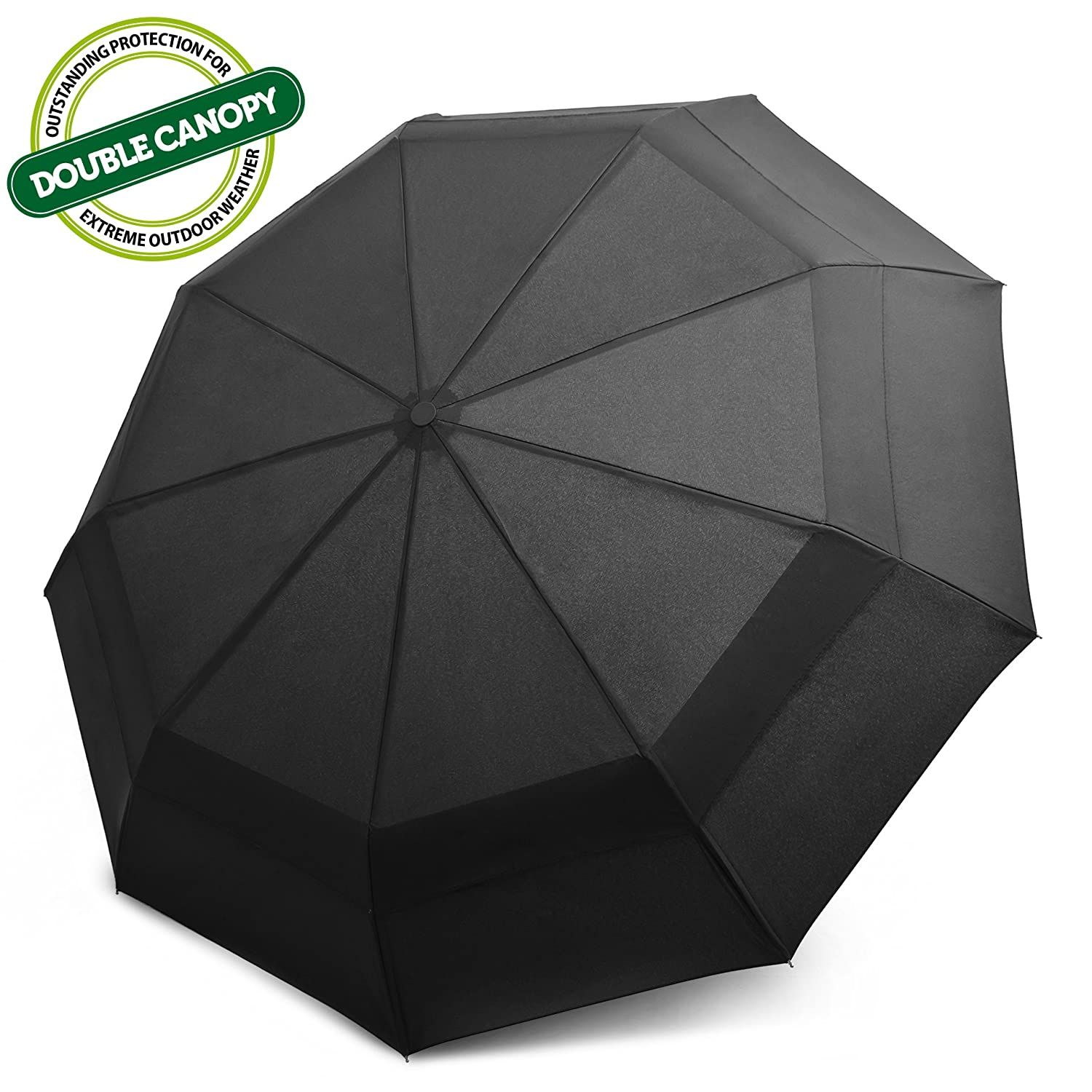 EEZ-Y Compact Travel Umbrella with Windproof Double Canopy Construction - Sturdy, Portable and Lightweight for Easy Carrying - Auto Open Close Button for One Handed Operation - Lifetime Guarantee