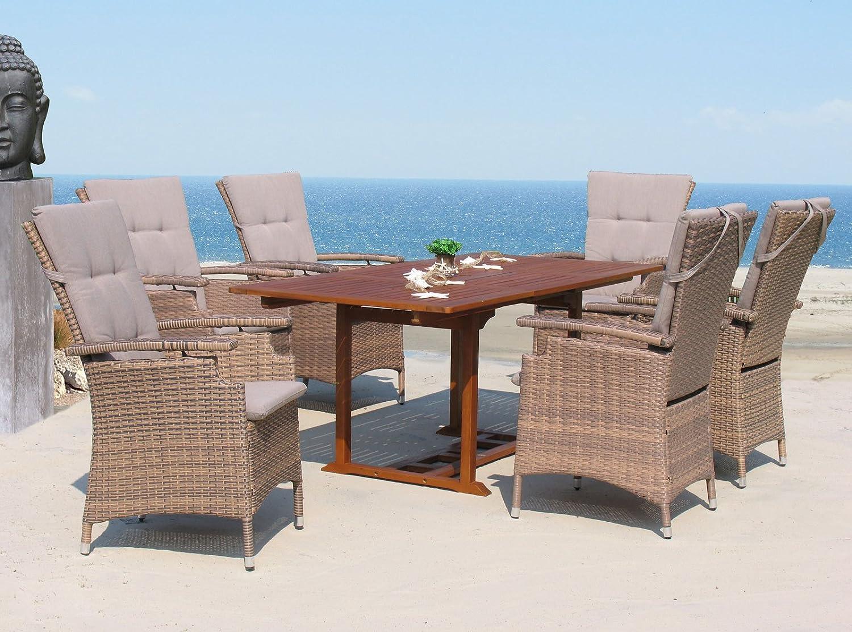13tlg Korbmöbel Set Brasil mit ausziehbaren Akazienholz Tisch kaufen