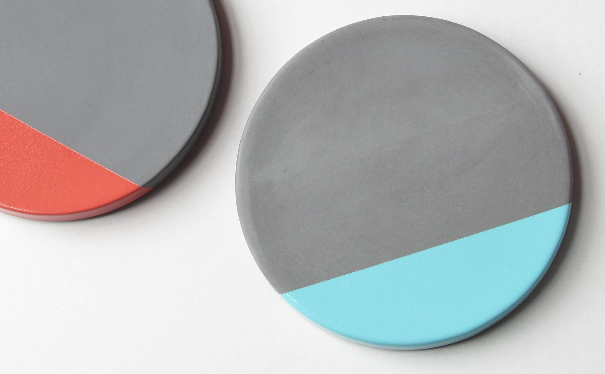 Concrete coasters with a pop of color hand made in for How to make concrete coasters