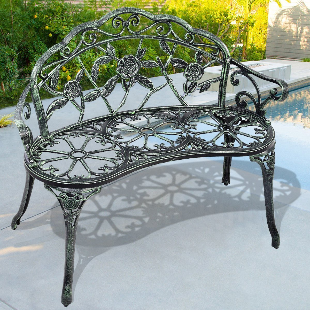 Giantex Patio Garden Bench Chair Style Porch Cast Aluminum Outdoor Rose Antique Green 5