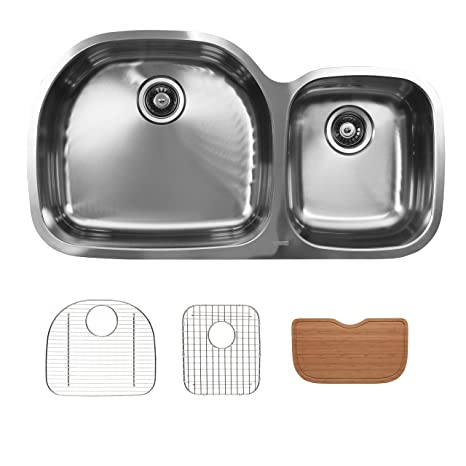 Ukinox D537.60.40.8L.GC Modern Undermount Double Bowl Stainless Steel Kitchen Sink with Bottom Grids & Cutting Boards