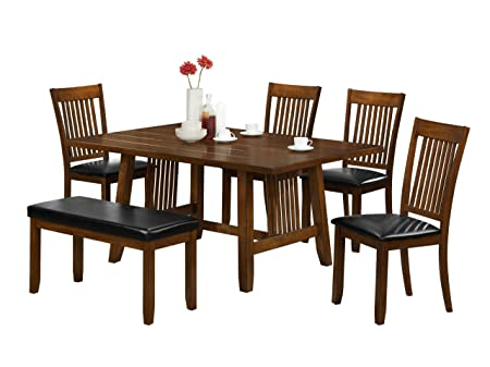 Baxton Studio Rachel 6-Piece Wood Modern Dining Set, Brown