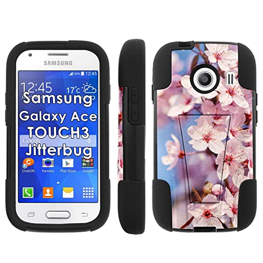 Cherry Blossom Print, Mobiflare Armor Kick Flip Grip Case for [Samsung Galaxy Ace Style S765 | Touch 3 | Jitterbug],Black