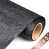 Glitter Heat Transfer Vinyl HTV Rolls 12inx5ft, Iron on HTV Vinyl Compatible with Silhouette Cameo & Cricut by TransWonder(Black) (Color: black)