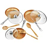 Copper Frying Pan Set with Lids and Spoons - Non-Stick Chef Pan 8,10 & 12'' - Heavy Duty Temepered Glass Lids - PFOA Free Skillet, Oven & Dishwasher Safe 3 Pans 3 Lids 3 Professional Spatula & Spoon (Tamaño: 12 inches)