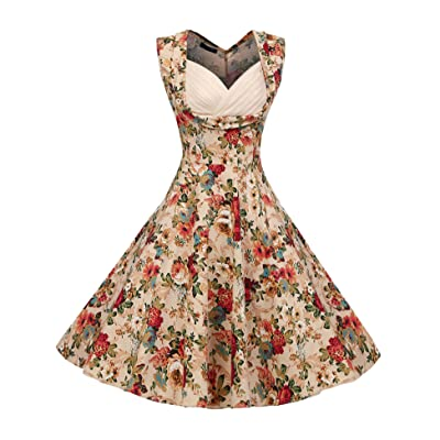 ACEVOG Women's 1950s V-Neck Vintage Cut-Out Retro Party Cocktail Swing Dresses