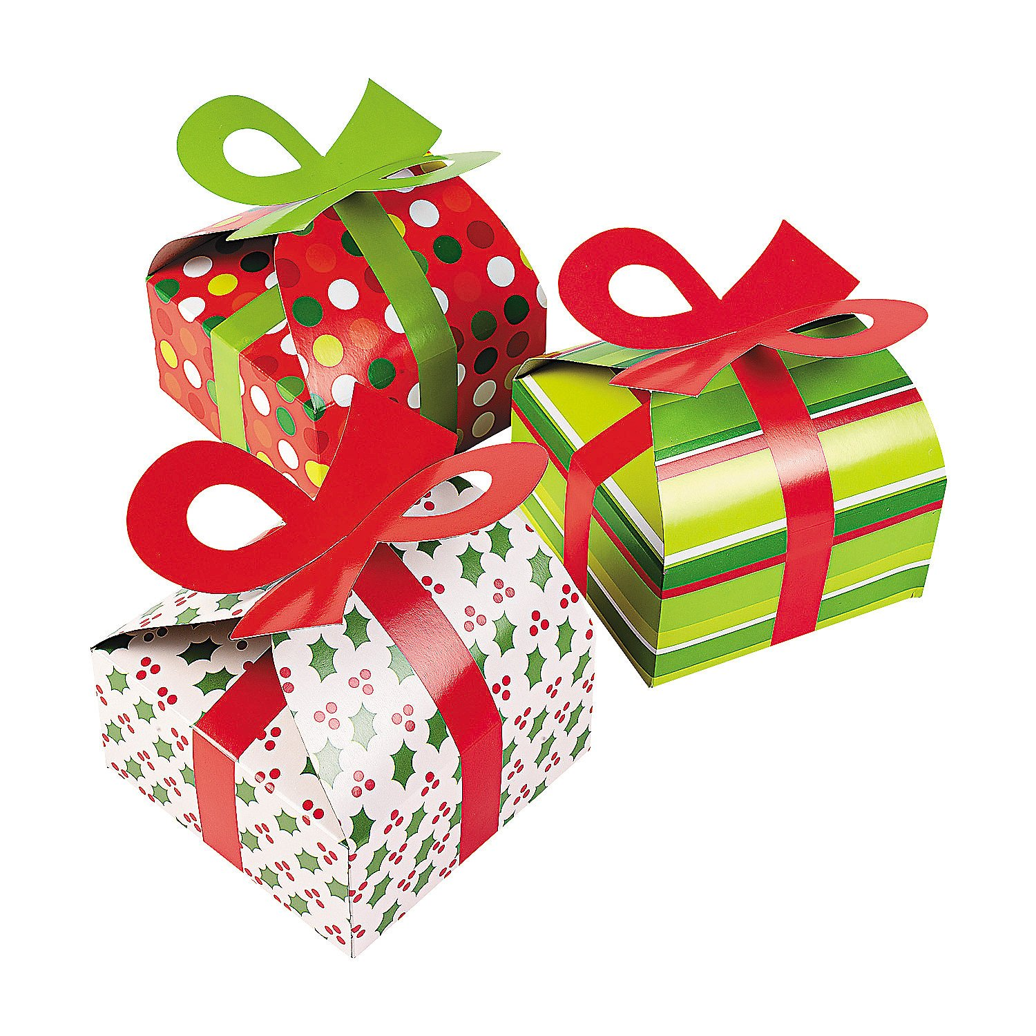 3D Christmas Gift Boxes With Bow - Party Favor & Goody Bags & Paper Goody Bags & Boxes; 12 Pack