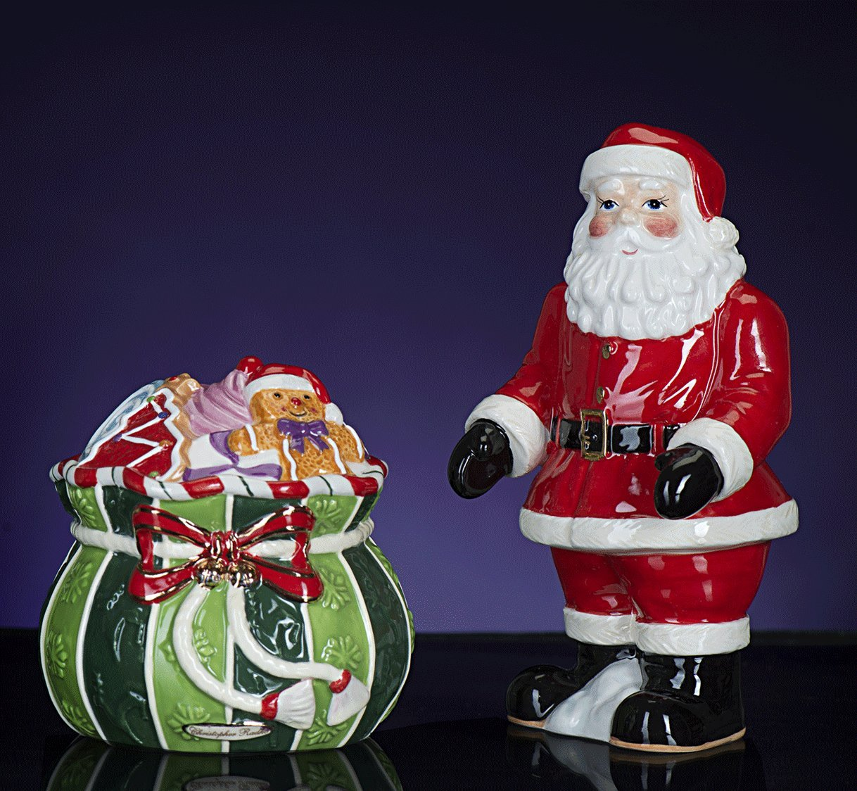 RADKO SPLENDID SANTA Salt Pepper Ceramic Christmas NEW Design