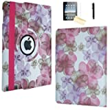 iPad Air Case (2013 Release), JYtrend (R) Rotating Stand Smart Case Cover Magnetic Auto Wake Up/Sleep for iPad Air/Air 1 A1474 A1475 A1476 (Light Pink Flower) (Color: Light Pink Flower)