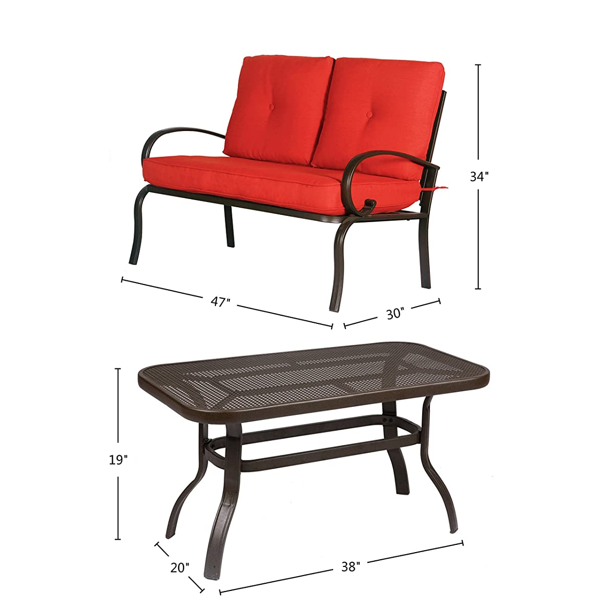 Cloud Mountain 5 Piece Cushioned Outdoor Furniture Garden Patio Conversation Set, Wrought Iron Coffee Table Loveseat Sofa 2 Chairs (Patio Conversation Set 2, Brick Red)