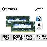 Timetec Hynix IC Apple 8GB Kit (2x4GB) DDR3L 1600MHz PC3L-12800 SODIMM Memory Upgrade For MacBook Pro 13-inch/15-inch Mid 2012, iMac 21.5-inch Late 2012/Early 2013,27-inch Late 2012/ 2013,Retina 5K display Late 2014/Mid 2015,Mac mini Late 2012/ Server (8GB Kit (2x4GB)) (Tamaño: 8GB Kit (2x4GB))