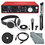 Focusrite Scarlett 2i4 USB Audio Interface (2nd Generation) with Deluxe Accessory Bundle Including Samson VP10X- Microphone Value Pack, Samson Studio Headphones, and an Auxiliary Cable (Tamaño: 2I4)