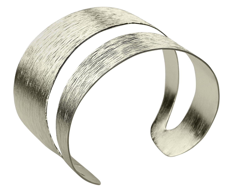 SILBERMOOS extravaganter Damen Armreif Armspange strukturiert gestreift mit diagonaler Aussparung massiv glänzend 925 Sterling Silber online kaufen