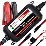 MOTOPOWER MP00206A 12V 1.5Amp Fully Automatic Battery Charger Maintainer for Cars, Motorcycles, ATVs, RVs, Powersports, Boat and More. Smart, Compact