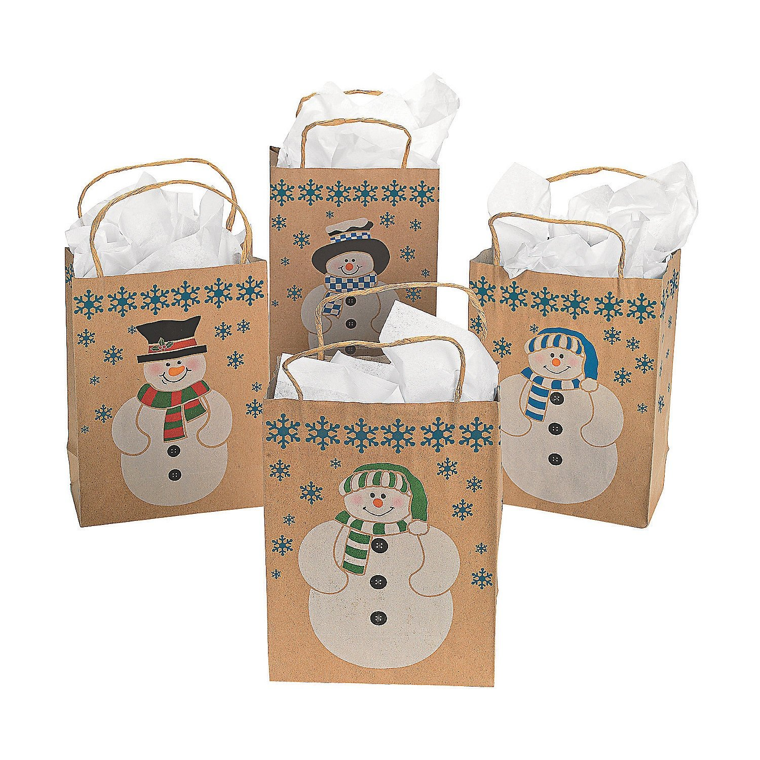 12 snowman gift bags w jute cord handles christmas holiday for Handles for bags craft