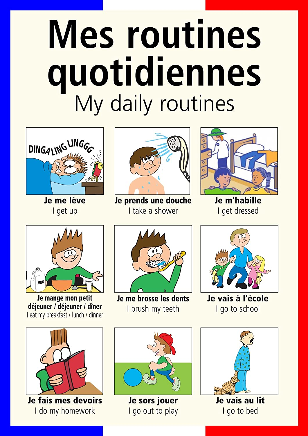 Collectionddwn Daily Routine In French on Preschool Daily Routine
