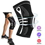 Knee Support Brace Compression Sleeve, Elastic & Breathable Silicon Padded Nylon Kneepads Patella Stabilizer, Hinged Knee Protector Wraps Pad for Meniscus Tear, Arthritis, Runing/X-Large (Color: Black, Tamaño: X-Large)