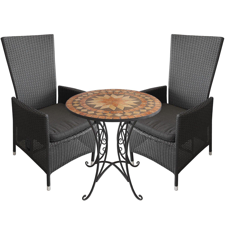3tlg.Balkonmöbel Mosaiktisch Ø70cm Alu Poly-Rattan Sessel inkl. Sitzkissen Rückenlehne verstellbar Schwarz Terrassenmöbel Sitzgarnitur Sitzgruppe günstig online kaufen