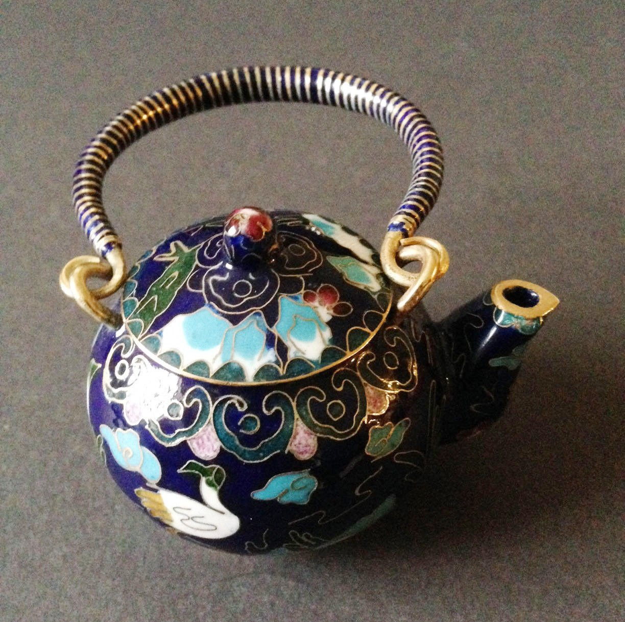 Chinese Vintage Cloisonne Tea Pot Teapot Bronze Brass Copper Enamel Handmade 0