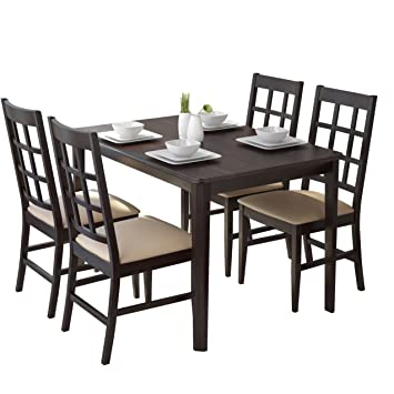 CorLiving DRG-695-Z Atwood 5-Piece Dining Set with Grey Stone Leatherette Seats
