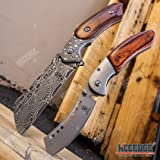Wartech Buckshot Knives 2 PC Cleaver Combo Hiking Forest Etched Damascus Set 8.75