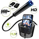 Endoscope - Borescope - Endoscope Android - USB Endoscope Borescope - Micro USB - USB C Inspection Camera - Waterproof LED Automotive Vehicle Bore Drain Digital HD Semi-Rigid OTG Android with Case (Color: black)