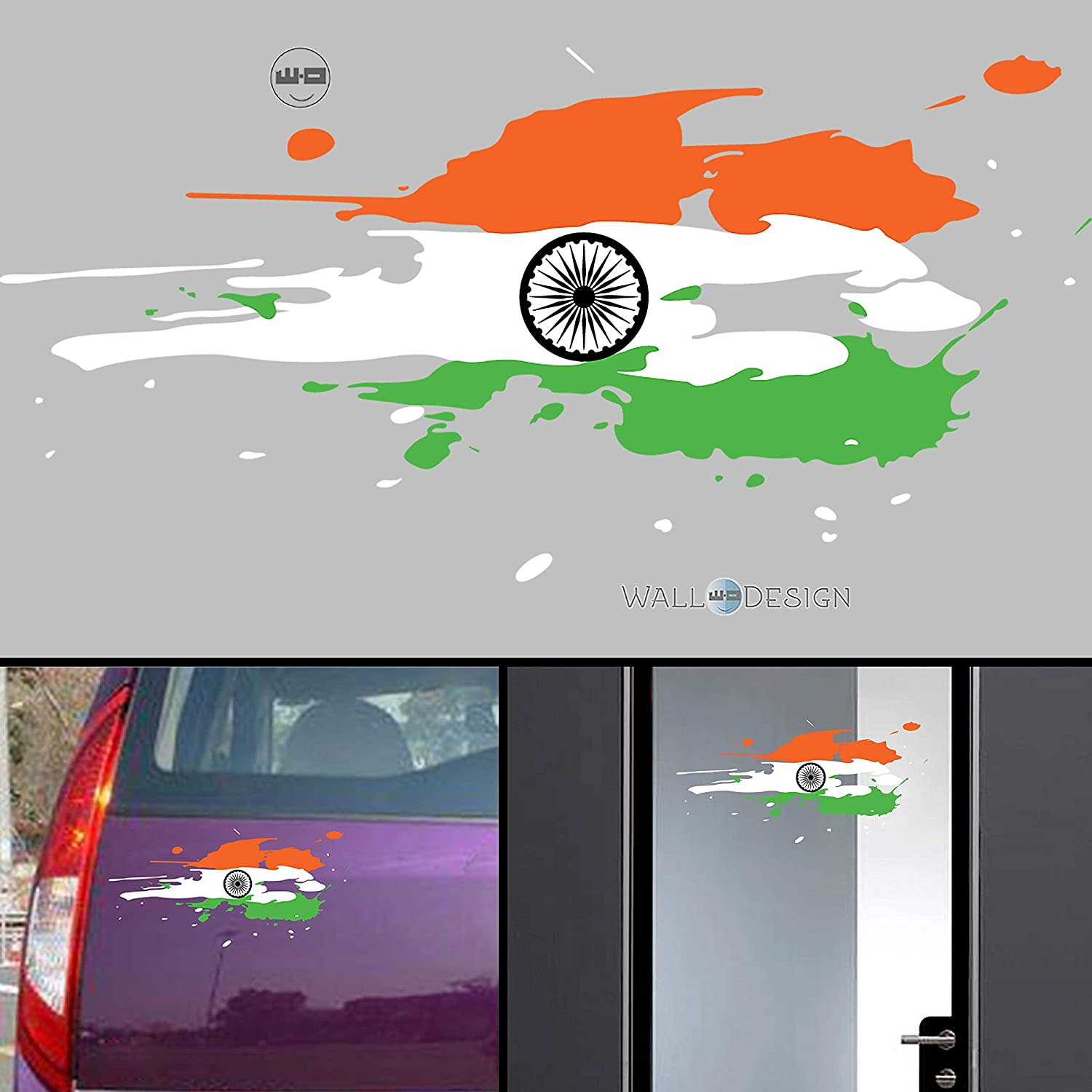 Car sticker design in india - Walldesign India Flag Jai Bharath Flag Car Stickers For Body Glass Wall Colour Splash Design