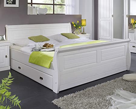 """Doppelbett Bett mit Schubkästen """"Mailand-Weiß"""" 180x200cm Kiefer weiß massiv Holz Landhaus"""