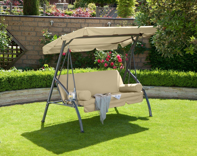 greemotion Hollywoodschaukel Rügen, Gartenschaukel, 212 x 120 x 167 cm, mit Bettfunktion, aus Stahl/Polyester, in anthrazit/sand günstig kaufen