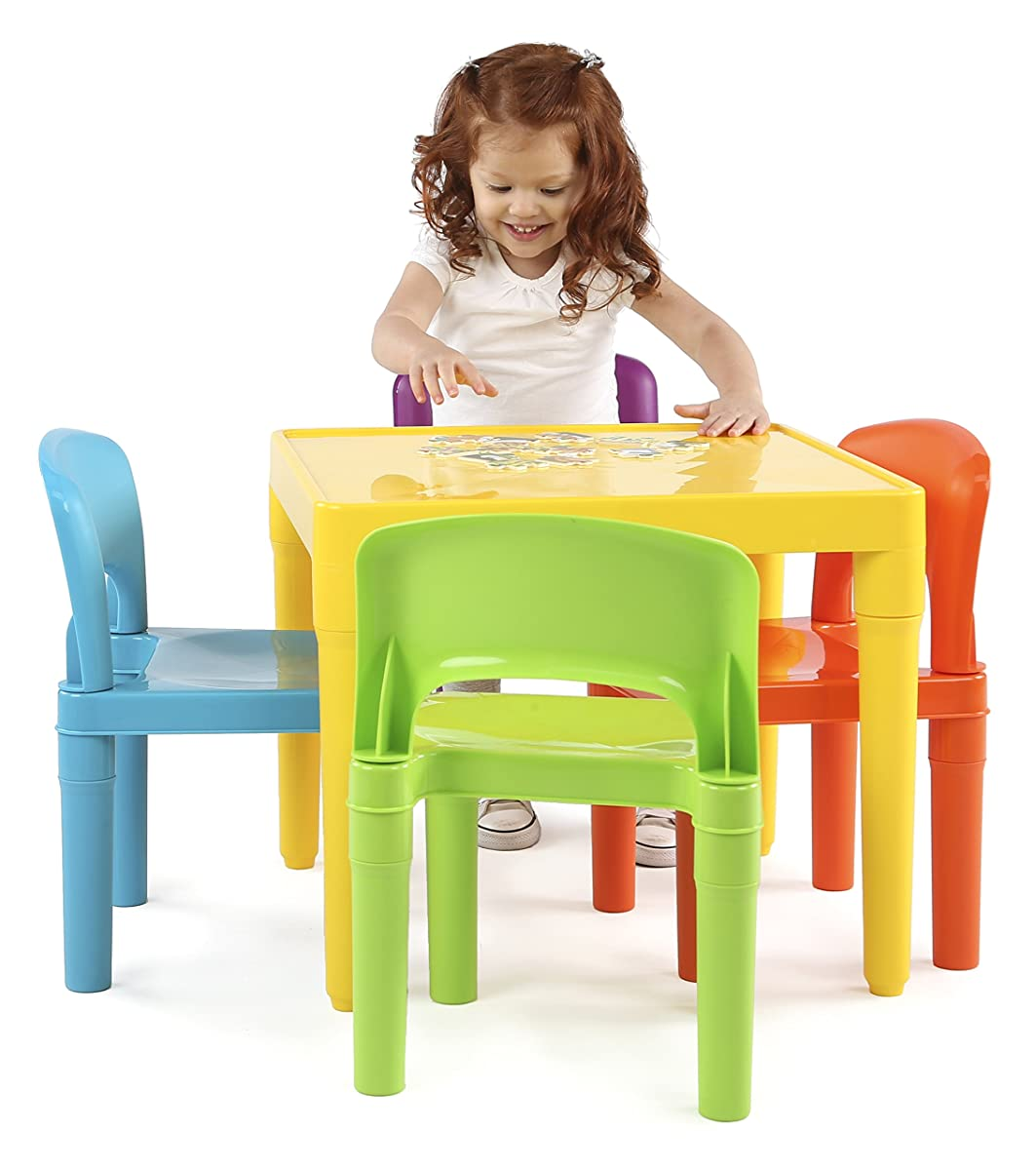 Tot Tutors Kids Plastic Table And 4 Chairs Set Vibrant Colors