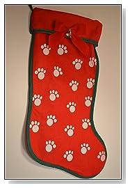 Dog Christmas Stocking Red Pawprint