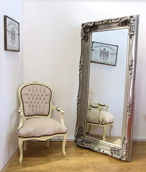 Carved Louis Large Silver Ornate French Frame Leaner / Wall Mirror