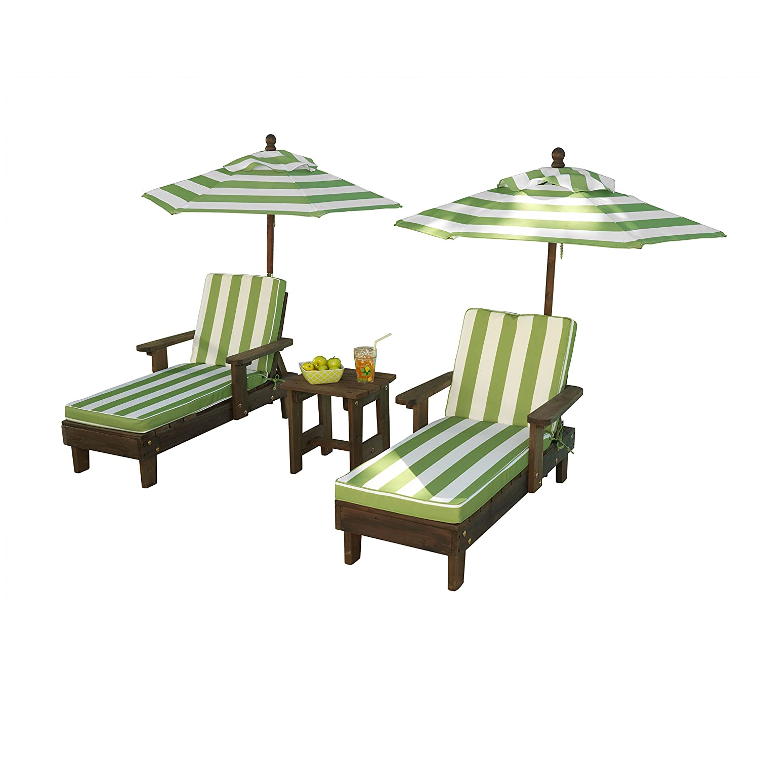 Outdoor Sun Chaise Lounge Umbrella Set Kids Bed Patio Beach Pool Chair Wooden