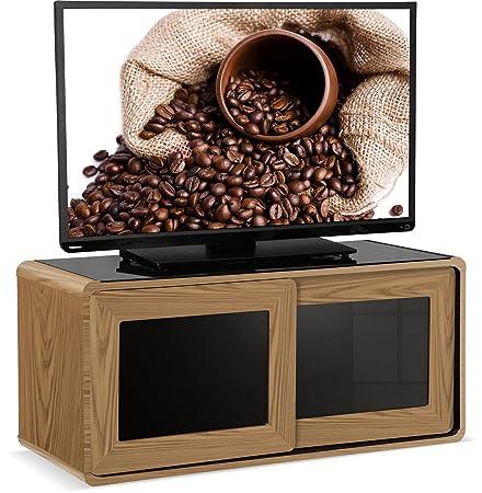 """Centurion Supports Nora Roble real de chapa de madera con Negro brillante de la viga-Thru puertas correderas de cristal remoto es amable 26""""-52"""" TV LED / OLED / LCD Gabinete"""