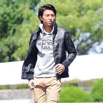 (スペイド) SPADE ライダースジャケット メンズ シングル PUレザー 総柄 カモフラ 【w904】
