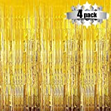 Foil Curtains Backdrop - 4 Pack Photo Booth Backdrop for Wedding Birthday Party Stage Decor Tinsel Photo Booth Backdrop Metallic Curtains Party Supplies for Props(Gold) (Color: Gold)