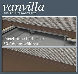 vanvilla Duschrinne 80cm DR800F befliesbar inkl. Siphon, Dichtmanschette, Fliesenflansch, Edelstahl  BaumarktKritiken und weitere Infos