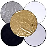 Round 24-inch / 60cm 5-in-1 Portable Collapsible Multi Disc Light Reflector Photography with Bag for Studio or Any Photography Situation-Silver, Gold,