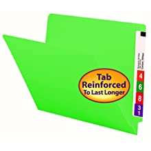 Smead Colored End Tab File Folder, Shelf-Master® Reinforced Straight-Cut Tab, Letter Size, Green, 100 per Box (25110)