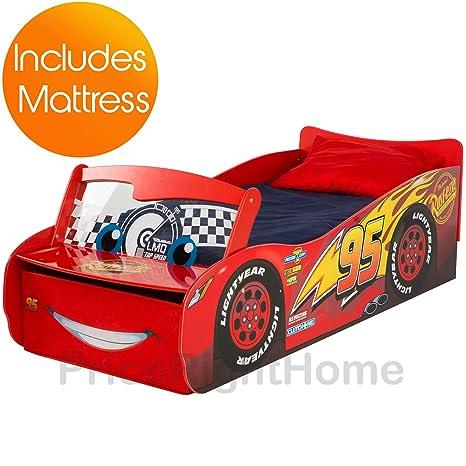 Disney Cars 'Lightning McQueen'mit Kinderbett, mit Stauraum und Deluxe-Schaum-Matratze
