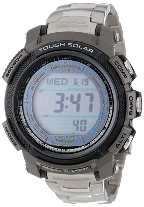 Casio Men's PAW2000T-7CR Pathfinder Digital Multi-Function Titanium Bracelet Watch 卡西欧 电波表 钛金属-奢品汇 | 海淘手表 | 腕表资讯