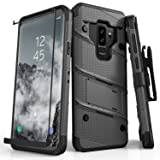 Zizo BOLT Series compatible with Samsung Galaxy S9 Plus Case Military Grade Drop Tested with Tempered Glass Screen Protector Holster METAL GRAY BLACK (Color: Gun Metal Gray & Black)