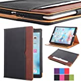 I4UCase Apple iPad 9.7 Inch 2017/2018 (5th/6th Generation) Case - Soft Leather Stand Folio Case Cover for iPad 9.7 Inch, with Multiple Viewing angles, Auto Sleep/Wake, Document Pocket (Black/Brown) (Color: Black + Brown, Tamaño: 9.7 Inch)