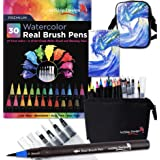 Gift Pack 30 Watercolor Brush Pens, Matching Messenger Bag and Watercolor Pad, Custom Folding Upright Pen Case, 24 Colors 6 Water Brushes, Real Nylon Brush Tips, Watercolor Painting, Low Mess, Wave (Color: Wave)