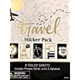 Elegant Blooms & Things Travel Sticker Book, 235 pcs, Black, Gold Foil, White, Journals, Albums, Planners (Color: Black, Gold Foiled, White)